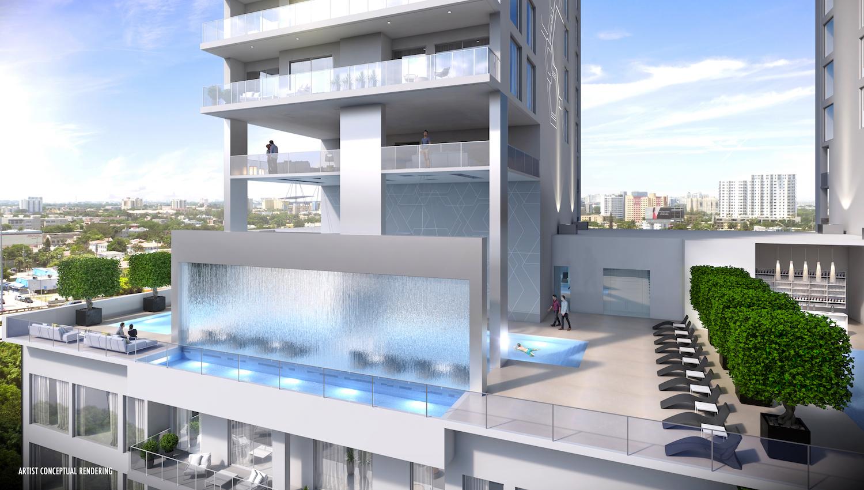 Smart Brickell Pool Waterfall